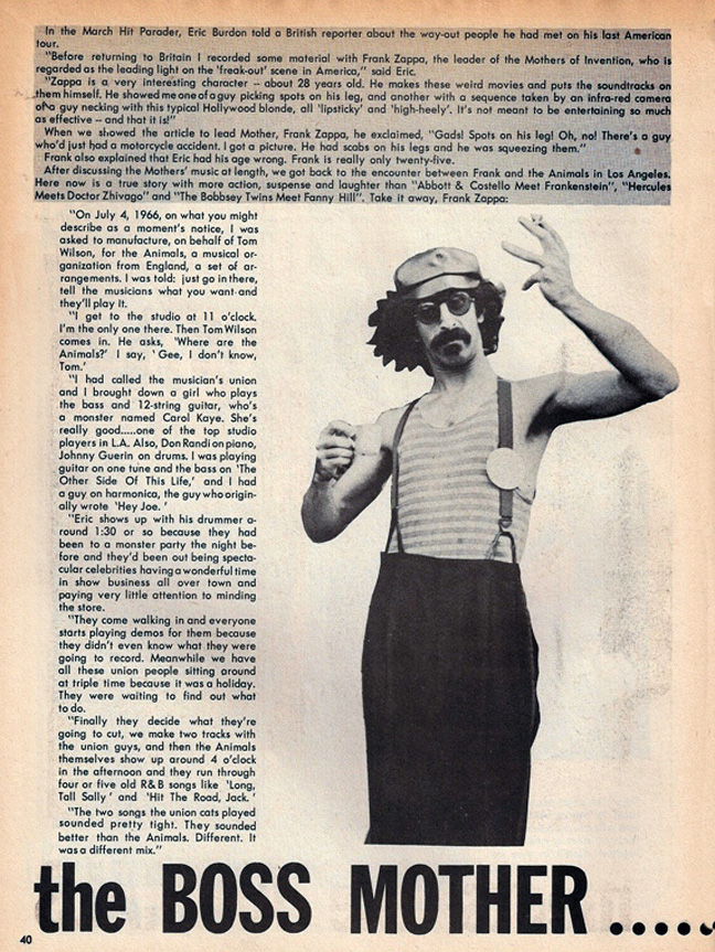 Frank Zappa, July 1967 Hit Parader magazine, chronicling his hiring by Tom Wilson to create arrangements for The Animals in 1966.