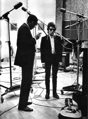 Wilson with Bob Dylan during the singer's Bringing It All Back Home recording sessions, January 1965.